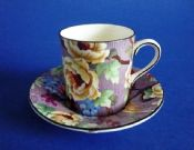 Mauve Crown Ducal 'Florida' Chintz Coffee Can and Saucer #1 c1930 (Sold)